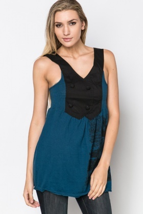 Button Bib Pinafore Dress
