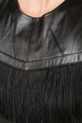 Fringed Faux Leather Trim Dress