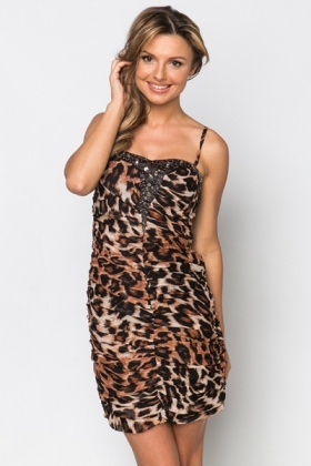 Encrusted Ruched Leopard Print Dress