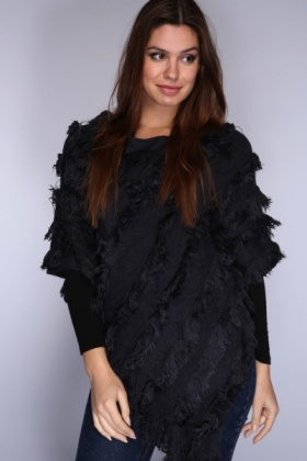 Diagonally Fringed Poncho