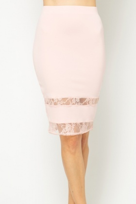 Lace Trim Bodycon Skirt