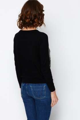 Contrast Metallic Sweater