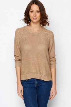 Dipped Hem Perforated Pullover