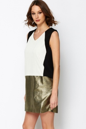 Colourblock Metallic Shift Dress