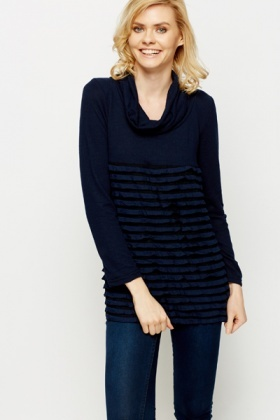 Ruffle Trim Cowl Neck Top