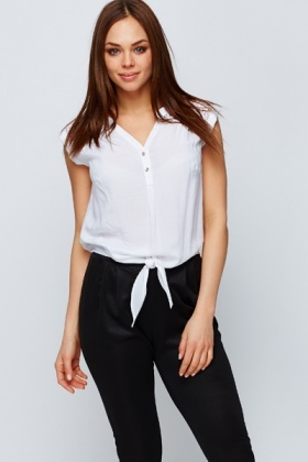 Lace Trim Tie-Up Blouse