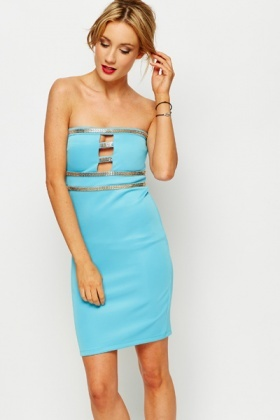 Chain Trim Cut-Out Front Bandeau Dress