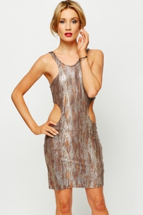 Cut-Out Metallic Mock Croc Bodycon Dress