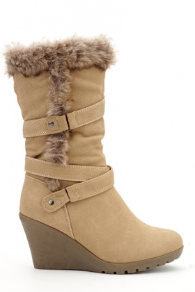 Faux Fur Trim Multi Strap Boots
