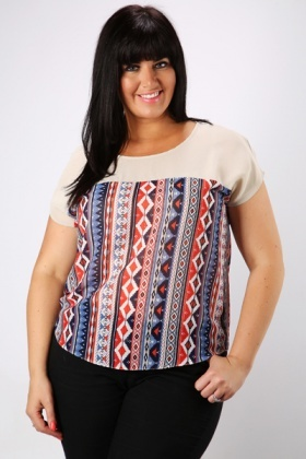 Ethnic Print Sheer Beige Blouse