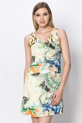 Animal & Roses Print Zip Front Dress