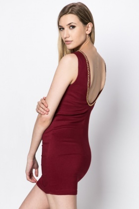 Chain Trim Neck Fitted Dress