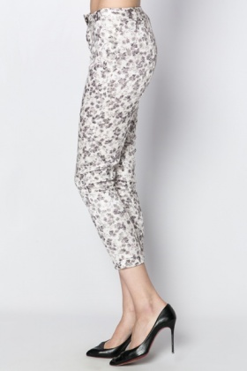 Metallic Flower Print Trousers