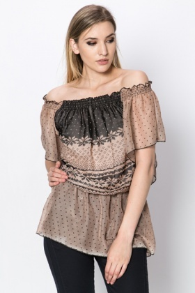 Heart & Fair Isle Print Sheer Tunic