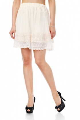 Net & Cotton Lace Skirt