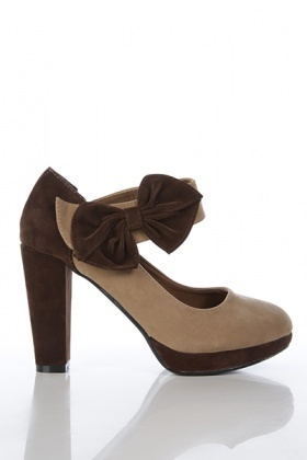 Contrast Platform & Bow Velour Shoes