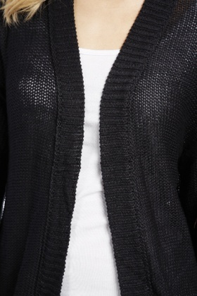 Cropped Sleeves Open Front Cardigan