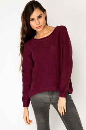 Dipped Hem Cotton Pullover