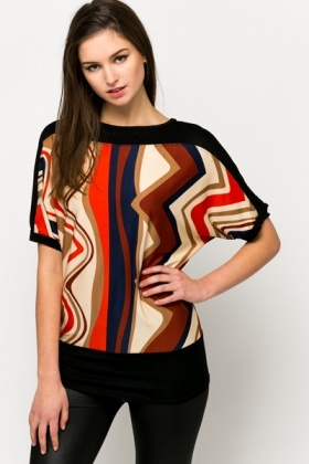Contrast Graphic Batwing Blouse