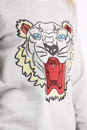 Embroidered Tiger Face Jumper