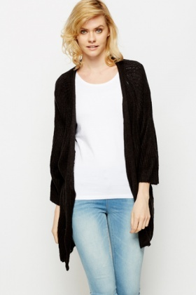 Open Front Rib Knit Cardigan