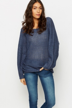 Perforated Batwing Jumper