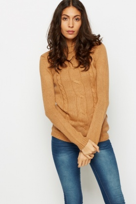 High Neck Cable Knit Pullover