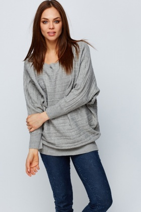 Batwing Patterned Knit Jumper