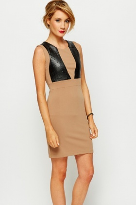 Embossed PU Panel Dress