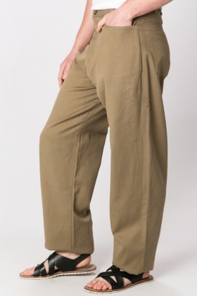 Textured Brown Trousers