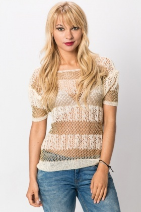 Metallic Open Crochet Pullover