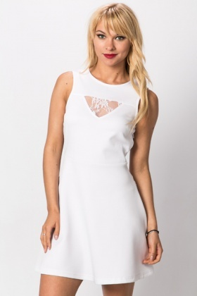 Lace Insert A-Line Dress
