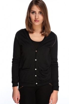 Studs Embellished Shoulders Sheer Cardigan