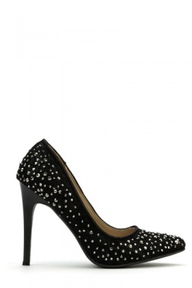 Encrusted Lace Overlay Court Shoes
