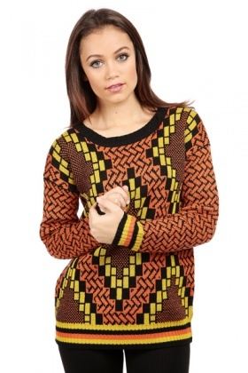 Retro Geo Pattern Jumper