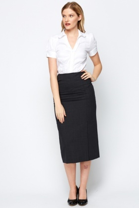 Tailored Midi Charcoal Skirt