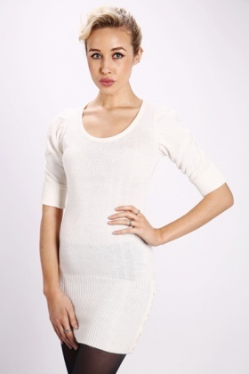 Pleat Shoulder Knit Jumper Dress
