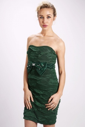 Encrusted Bow Bandeau Dress