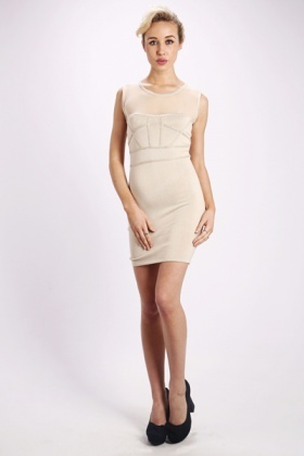 Mesh Front Bodycon Dress