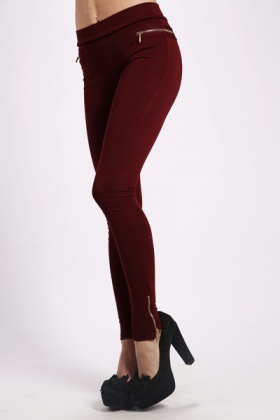 Zip Detail Stretch Leggings