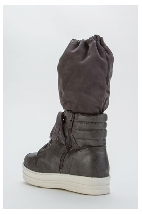 Layered Biker Hi-Top Shoes