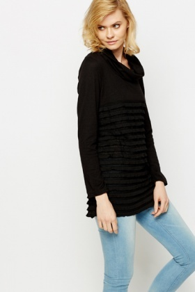 Ruffle Contrast Roll Neck Tunic