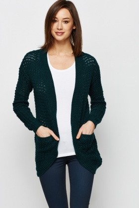 Perforated Open Front Cardigan