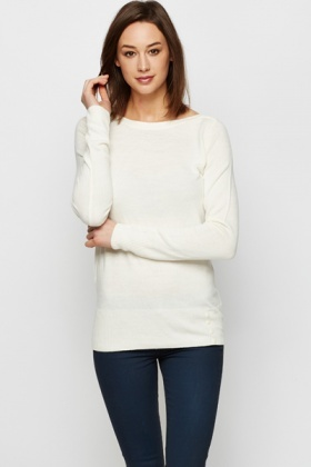Straight Neck Fine Knit Pullover