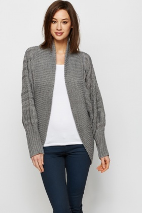 Contrasting Knit Batwing Cardigan