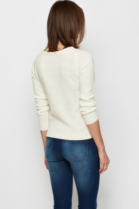Button Imitation Shoulder Jumper