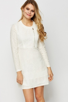 Zip Front Jacquard Dress