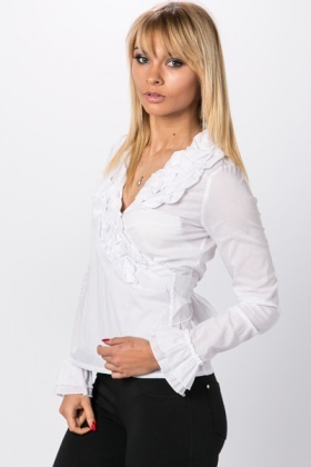 Ruffle Neck & Cuff Tie Up Blouse