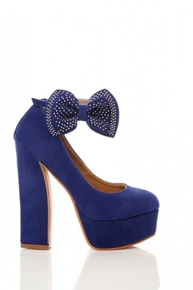 Detachable & Studded Bow velour Shoes