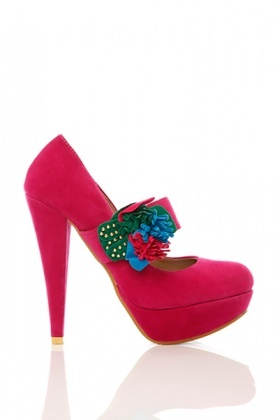Colourful Flower Strap Velour Shoes